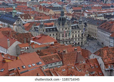 Graz, Austria - August 30, 2018: Aerial view of the city square of Graz