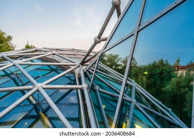 GRAZ, AUSTRIA - AUGUST 31, 2013: Detail of Murinsel in Graz, Austria, a building in the middle of the Mur river designed by Vito Acconci on the occasion of European Capital of Culture in 2003