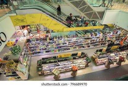 GRAZ, AUSTRIA - CIRCA 2018:  Panoramic view of the wine galerie of Billa supermarket in Jakominiplatz  circa 2018 in Graz, Austria.