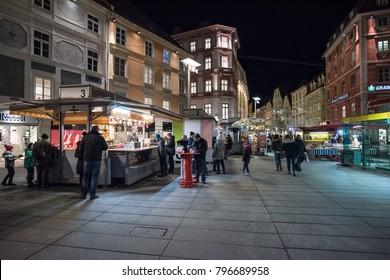 GRAZ, AUSTRIA - CIRCA 2018: Snack food point in the main square circa 2018 in Graz, Austria.