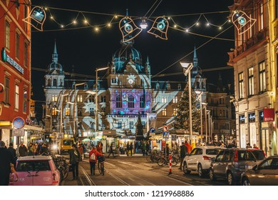 Graz, Austria - December 2017: Christmas decorated town of Graz during advent and holidays