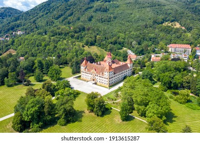 Graz, Austria. Eggenberg Palace (Schloss Eggenberg) - the largest aristocratic residence in Styria is listed as a World Heritage Site. Construction was completed by 1646, Aerial View - Shutterstock ID 1913615287