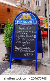 GRAZ, AUSTRIA - JUN 27, 2014: Menu of a restarant in the area called 'Bermuda Triangle' in Graz, Austria. Graz is the capital of federal state of Styria and the second largest city in Austria
