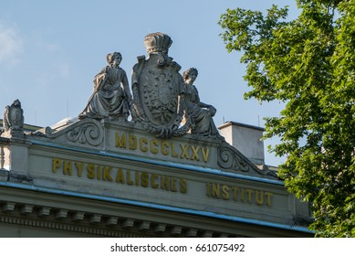Graz, Austria - June 15th 2017: Inscription on top of the Physics institute