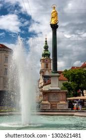 GRAZ, AUSTRIA - JUNE ,2018: View to Herrengasse in Graz. It is the most popular shopping street in Graz.