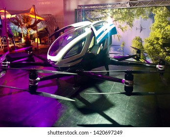 Graz, Austria - June 6, 2019: Austrian company FACC is presenting the prototype of a flying Taxi Drone that they developed together with Chinese company EHang on the Fifteen Seconds Conference in Graz