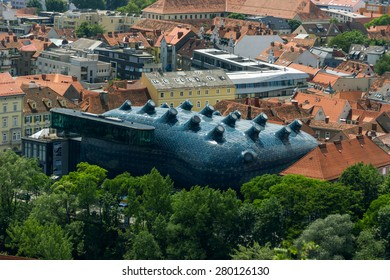 GRAZ, AUSTRIA - MAY 20, 2015: Graz Art Museum, Kunsthaus Graz. Contemporary architecture designed by Colin Fournier together with Peter Cook. Exterior view.