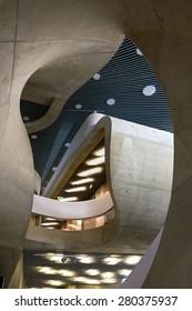 GRAZ, AUSTRIA - MAY 20, 2015: House of Music and Music Drama, MUMUTH. Contemporary architecture designed by architectural studio UNStudio. Interior detail.