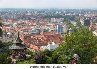 GRAZ, AUSTRIA – MAY 25, 2018: View of the city of Graz from above, Austria.