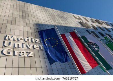 Graz, Austria - November 14, 2017 : Flags of austria and the european union in front of the medical university of graz