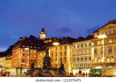 Graz, Austria - October 23, 2017: The Schlossberg or Castle Hill with the clock tower Uhrturm at night