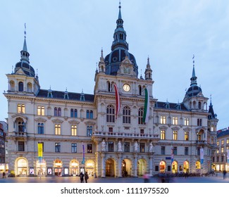 Graz, Austria - October 23, 2017: Rathaus or Town Hall (19 c.) at Hauptplatz at night