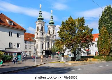 GRAZ, AUSTRIA - OCTOBER, 7. View of the old town center of Graz with the old catholic church Mariahilferkirche on October 7, 2016. Graz, Austria.