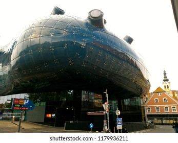 GRAZ, AUSTRIA – SEPTEMBER 10, 2017: the Kunsthaus Graz, Grazer Kunsthaus, or Graz Art Museum built as part of the European Capital of Culture celebrations in 2003 architectural landmark