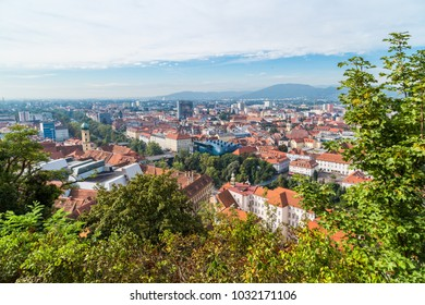 GRAZ, AUSTRIA - SEPTEMBER 16, 2016 : Panoramic view of Graz old town cityscape aerial view from Schlossberg Hill. Styria region of Austria.