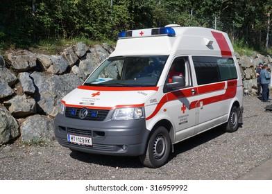 Graz, Austria- September 6, 2015: Austrian ambulance in Graz on September 6, 2015.