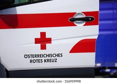 Graz, Austria- September 6, 2015: Red Cross logo of Austrian ambulance in Graz on September 6, 2015.