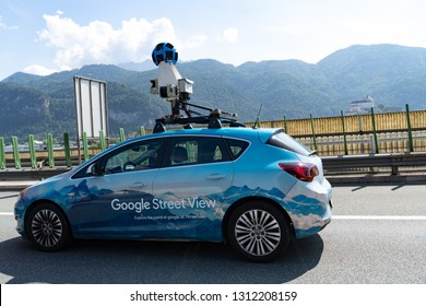Graz, Austria - September 6, 2018: Google Street View Car technology featured in Google Maps and Google Earth that provides interactive panoramas from positions along many streets in the world