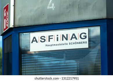 Graz, Austria - September 6, 2018: ASFiNAG sign. The ASFiNAG is an Austrian publicly owned corporation which plans, finances, builds, maintains and collects tolls for the Austrian autobahns
