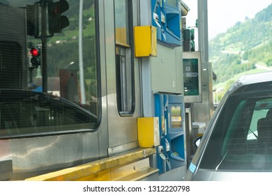 Graz, Austria - September 6, 2018: Toll collector working in the booth