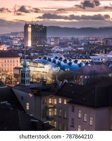 GRAZ, AUSTRIA: View of the downtown  at sunset in Graz.