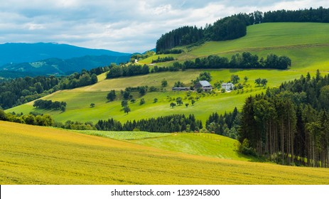 Graz, Austria. View of the farm and valley in the countryside