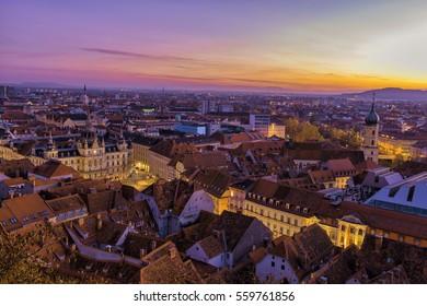 Graz City aerial view during dusk.