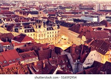 Graz City aerial view from schlossberg in Austria.