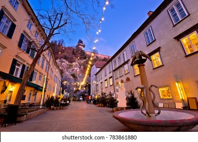Graz city center christmas fair evening view, Styria region of Austria