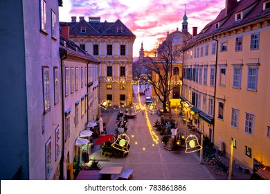 Graz city center christmas fair sunset view, Styria region of Austria