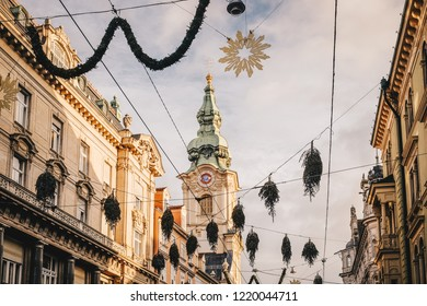 Graz city streets decorated for Christmas