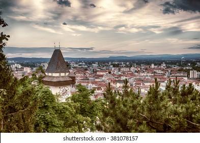graz City view from Schlossberg mountain