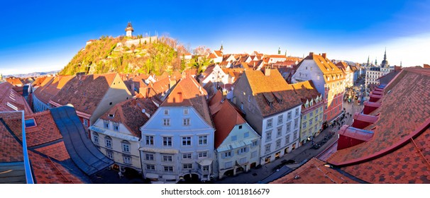 Graz cityscape and Schlossberg panoramic view, Styria region of Austria