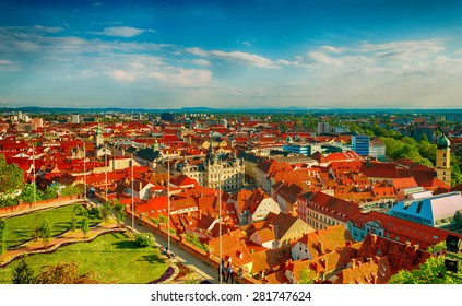 Graz cityscape - View from Clock tower