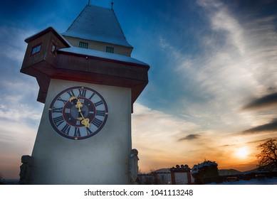 Graz Clock Tower during Sunset in Winter
