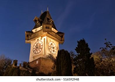 Graz Clock Tower on schlossberg in Austria.