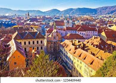 Graz historic city center rooftops view, Styria region of Austria