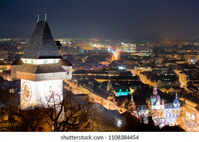 Graz landmark and cityscape evening view from Schlossberg, Styria region of Austria