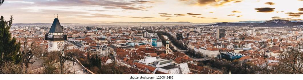 Graz panorama as seen from the Schlossberg park hill