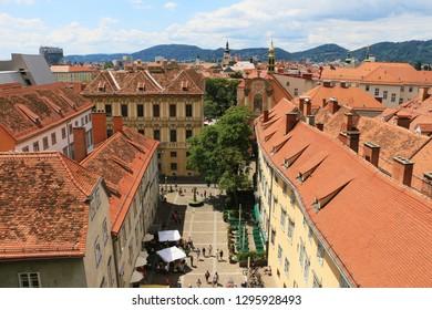 Graz, Styria / Austria 07.16.2017: Beautiful top view of the city Graz in Austria.