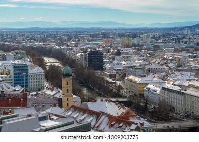 Graz, Styria / Austria - January 04, 2019: City landscape of Graz on a Sunny day. Birds eye view