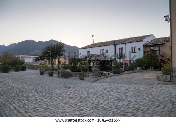 Grazalema mountain landscape Cadiz province Andalusia Spain Cortijo building