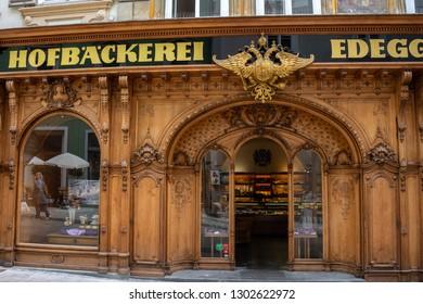 Graz,Austria-JUNE,2018:Beautiful panoramic view of the oldest bakery in Graz,Graz is the second largest city in Austria,Graz,Austria