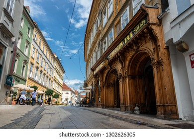 Graz,Austria-JUNE,2018:Beautiful  view of the old streets in the amazing city of Graz, Austria