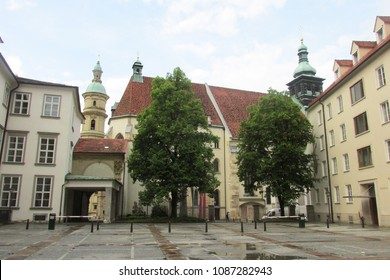 Graz,Austria-May 5,2018:Beautiful landscape view of St. Catherine church and Church tower in Graz.Graz is the second largest city in Austria,Graz,Austria