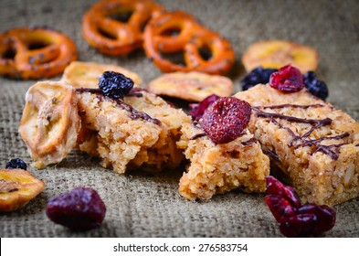 Grazing snack food on a rustic background