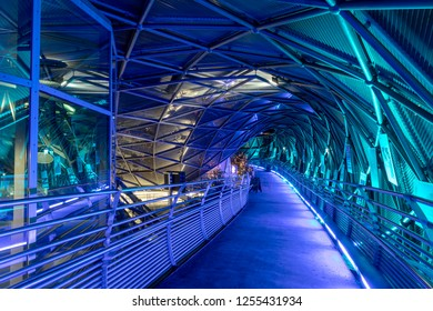 Graz,Styria,Austria-December 10,2018 :Christmas Time in Graz - The famous landmark Murinsel,designed by the artist Vito Acconci . An artificial island on the Mur river, christmassy Illuminated