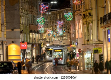 Graz,Styria,Austria-December 10,2018 : christmas time in graz,shopping mall murgasse in the capital of styria,austria.