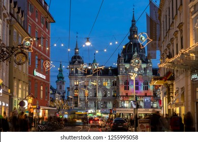 Graz,Styria,Austria-December 10,2018 : christmas time in graz,the capital of styria,austria. christmassy illuminated townhall on the main square (Hauptplatz) of the city of graz