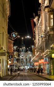 Graz,Styria,Austria-December 10,2018 : christmas time in graz,the capital of styria,austria. christmassy illuminated townhall on the main square (Hauptplatz) of the city of graz
